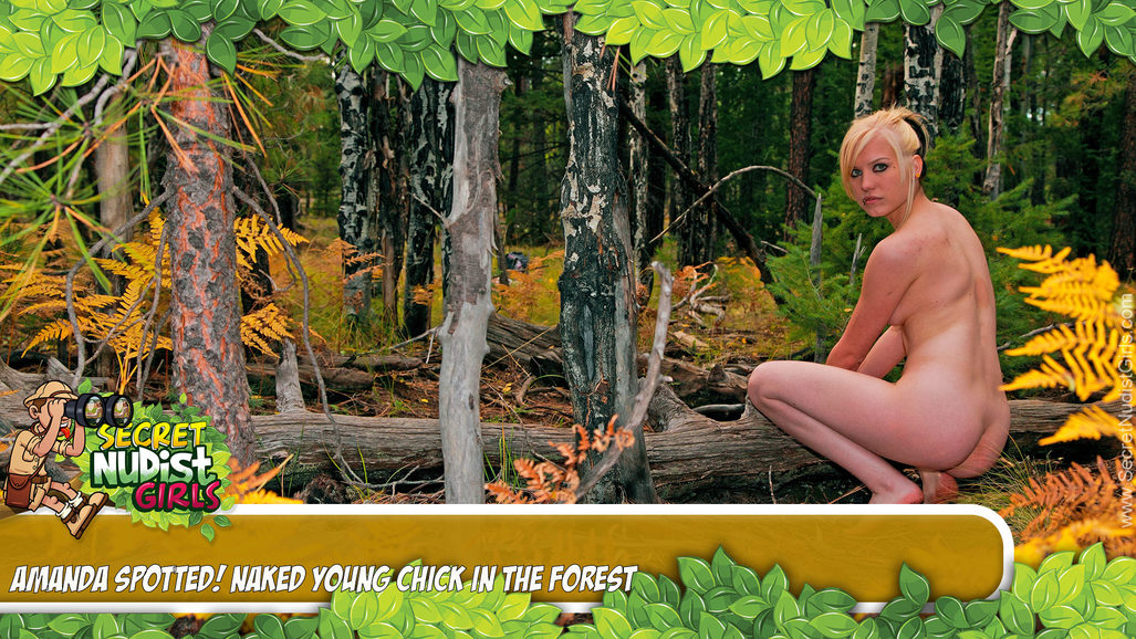 Amanda in Spotted! Naked Young Chick in the Forest